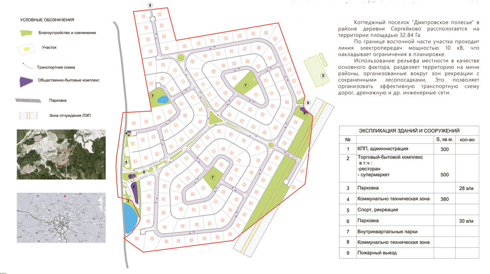 Project of the village of Ditrovskoe Polesie 32,84 Ha Moscow region. 2008