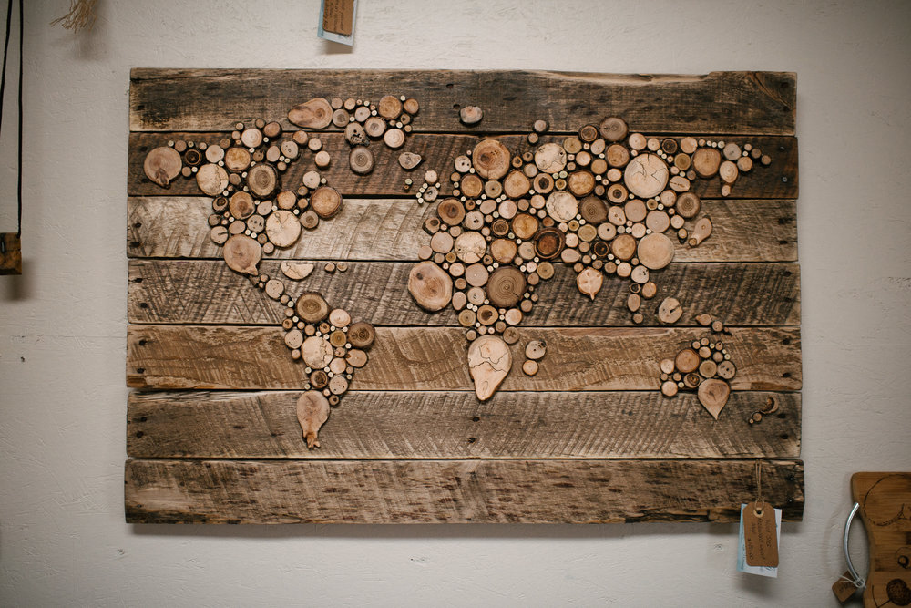 a map of the world, handcrafted from reclaimed wood by Lisa Morrissey