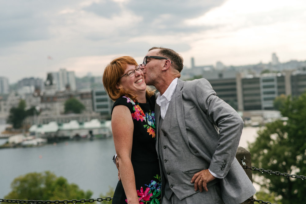 Best place for a smooch is overlooking the city of Kingston (Fort Henry Hill).