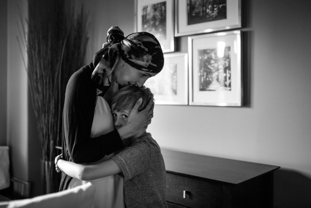 This little boy loves his mom with all his heart. That kind of love helps her get through her chemotherapy treatments