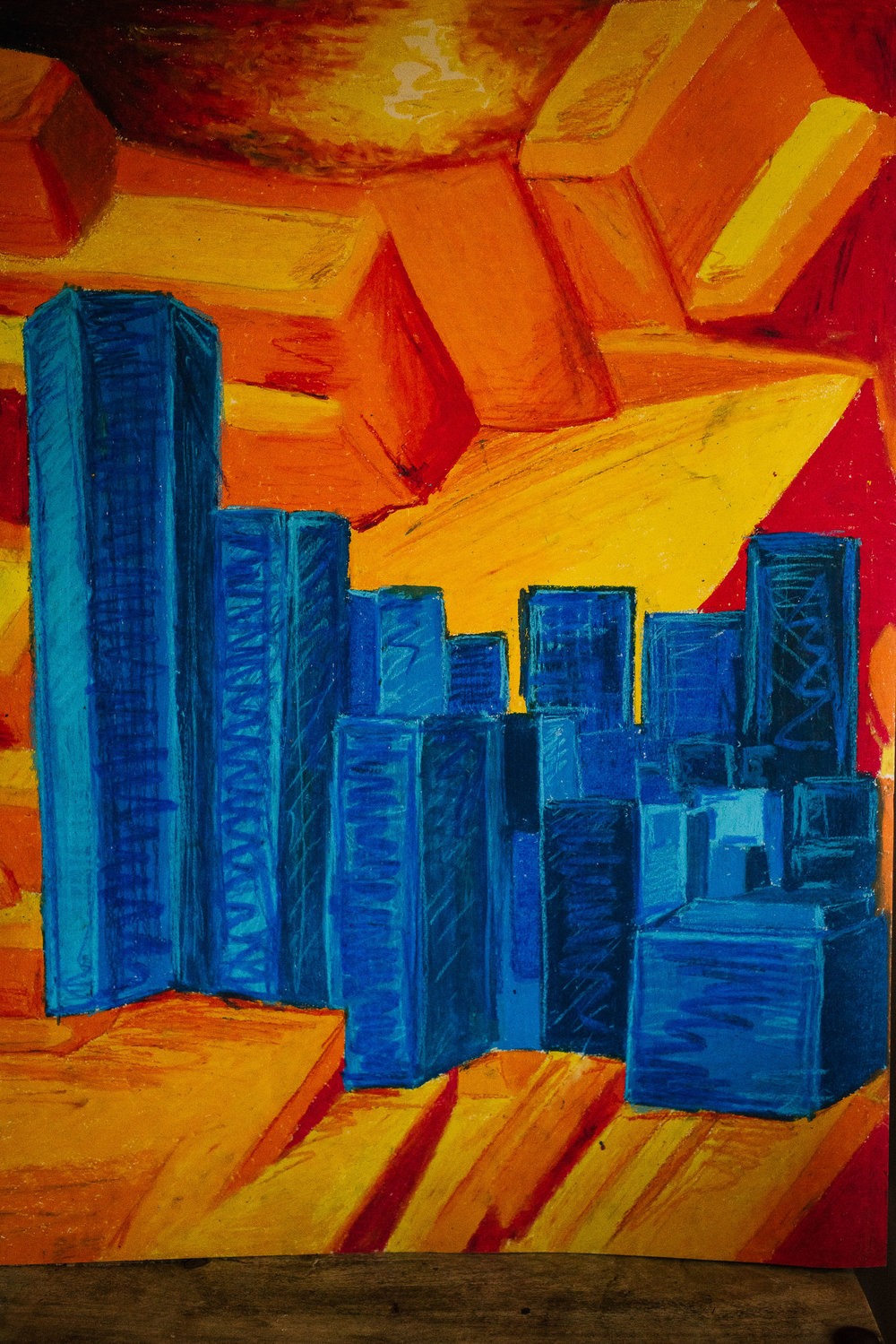blue buildings on orange silicon backdrop ap art viara mileva