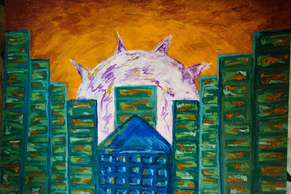 green buildings purple sun ap art viara mileva