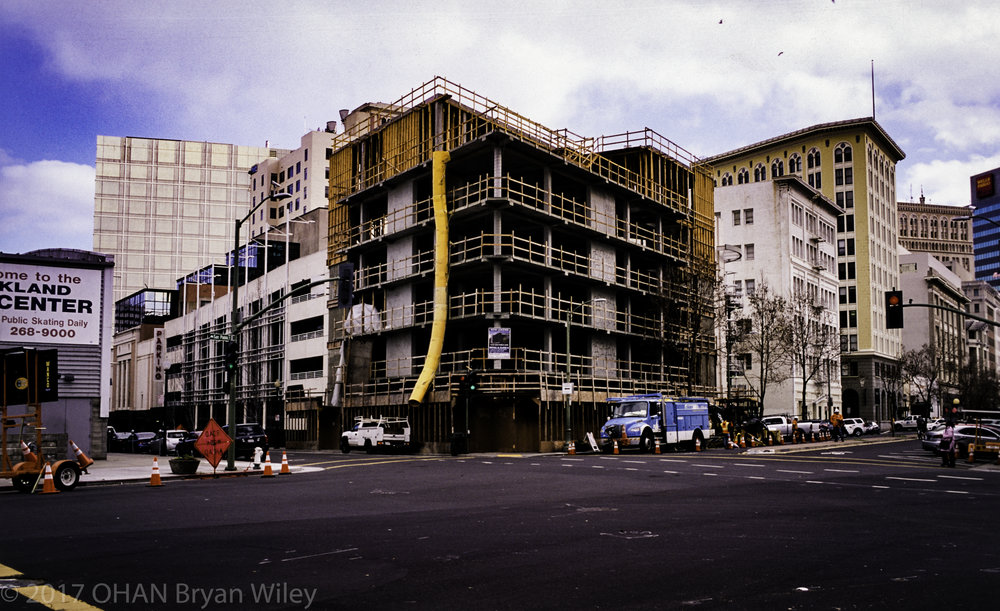A retail building being built in downtown Oakland is the new normality as the landscape and look changes.
