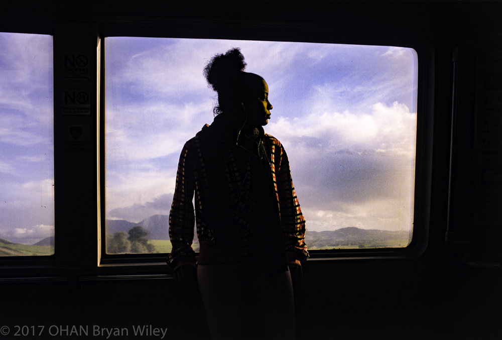 La'Donna Mitchell looks out into greener pastures as she rides BART to work.
