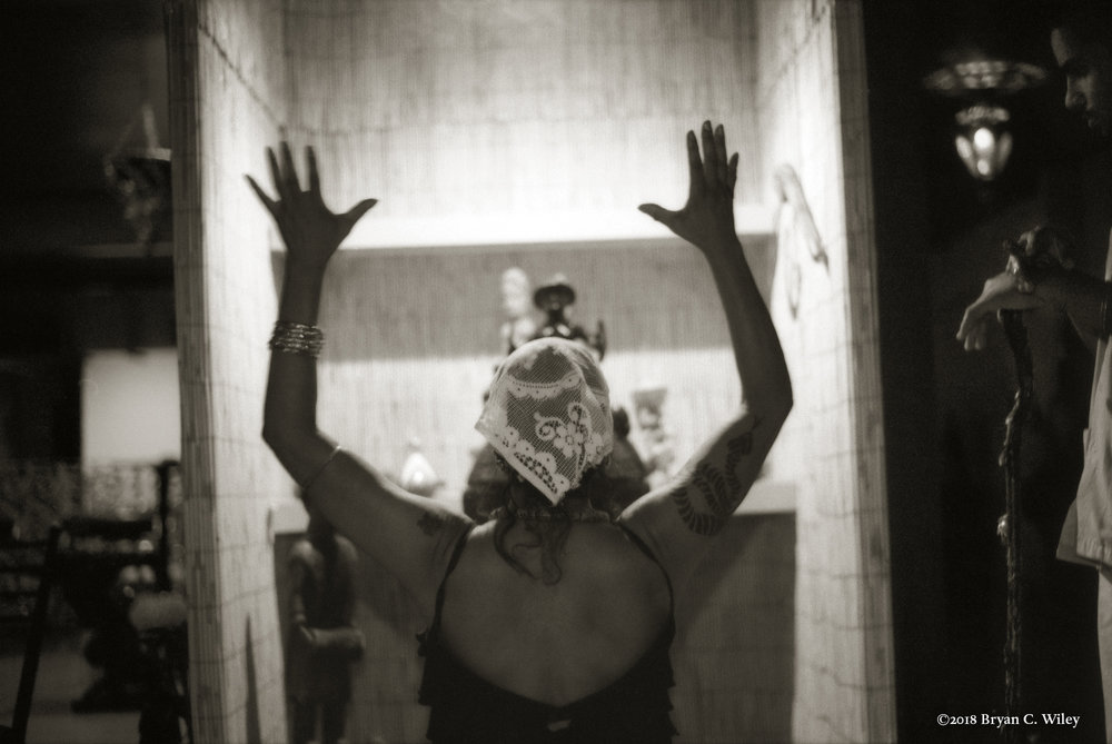 Chief Sharon Caulder performing a Voodoo ceremony in her temple  New Orleans, LA