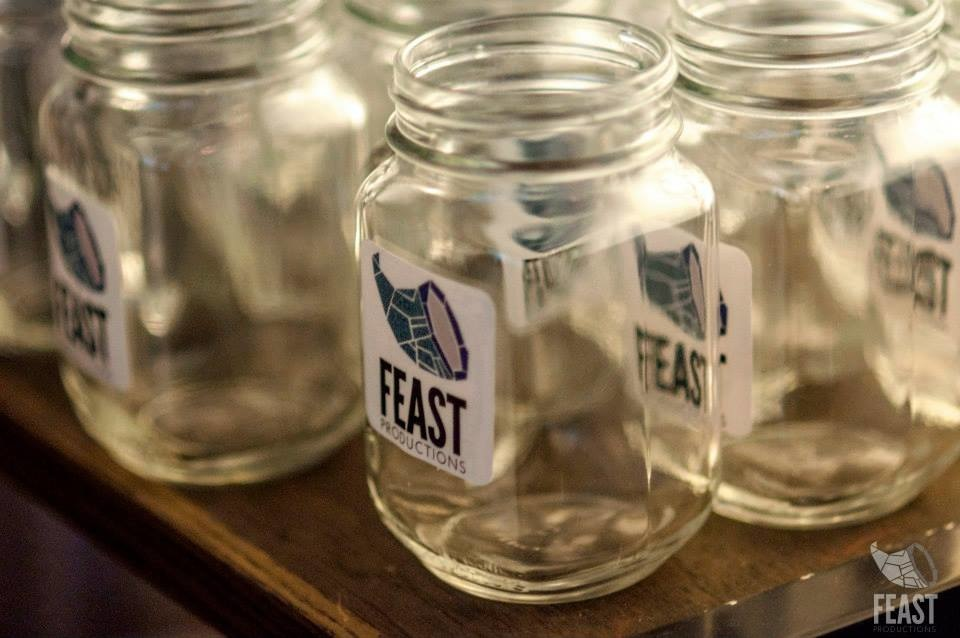 FEAST Logo on Mason Jar Giveaways