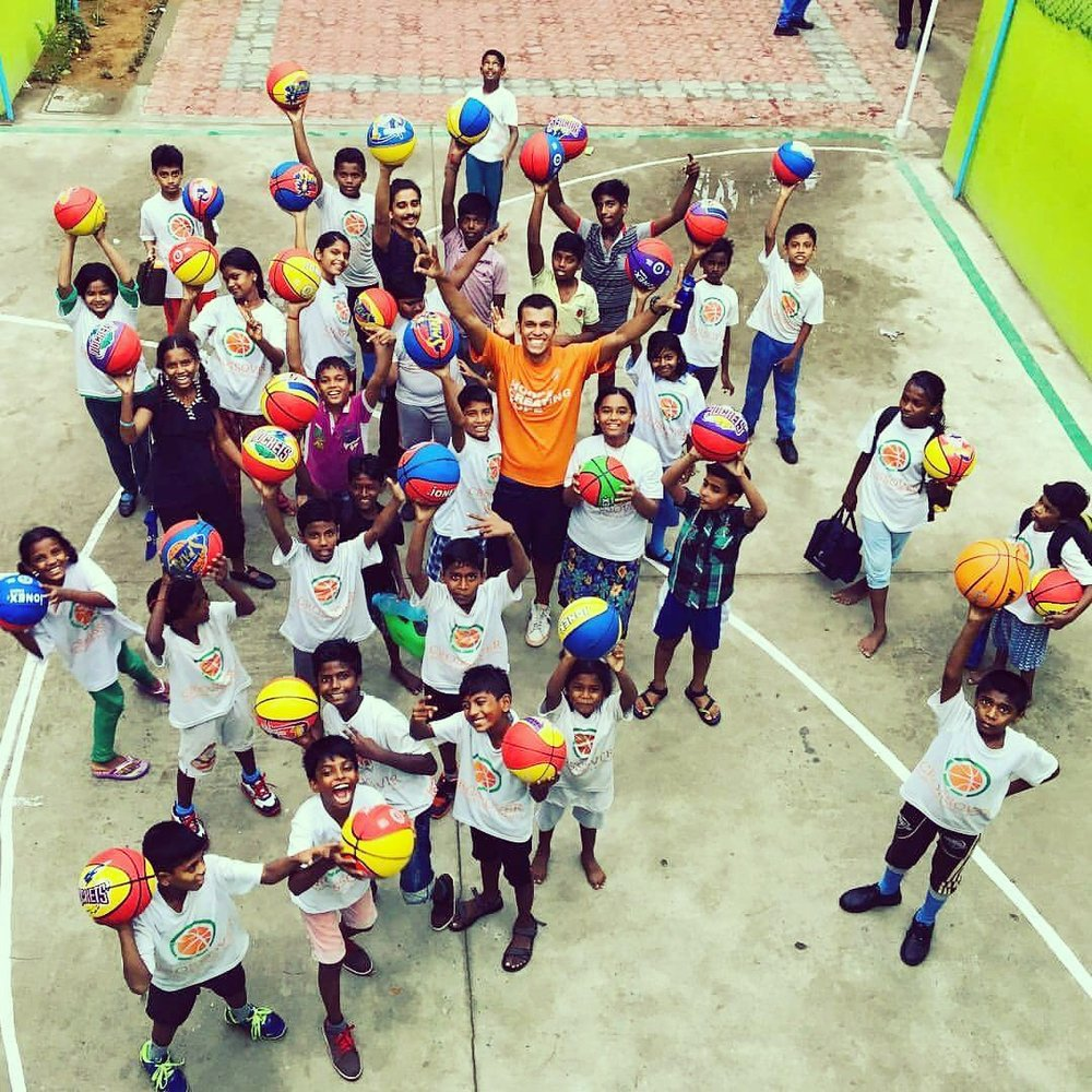 Students in Crossover Basketball and Scholars Academy in India