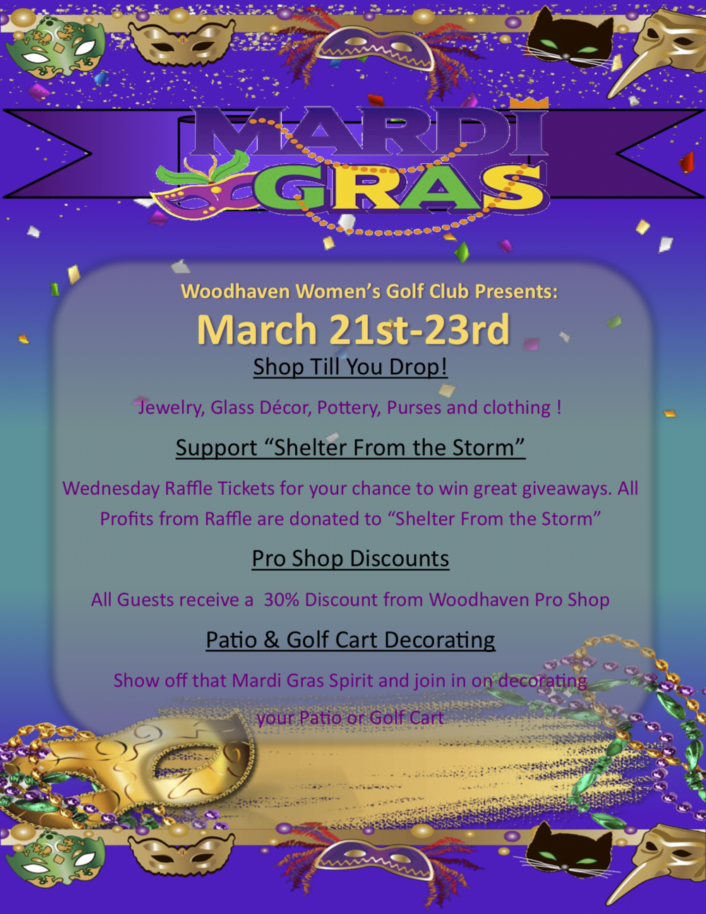 Mardi Gras at Woodhaven Country Club 2018
