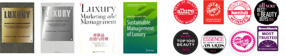 Top-rated books on luxury management (English & Chinese) and book-chapters on sustainable luxury by Dr. Langer, Beauty awards with previous company (selected examples)