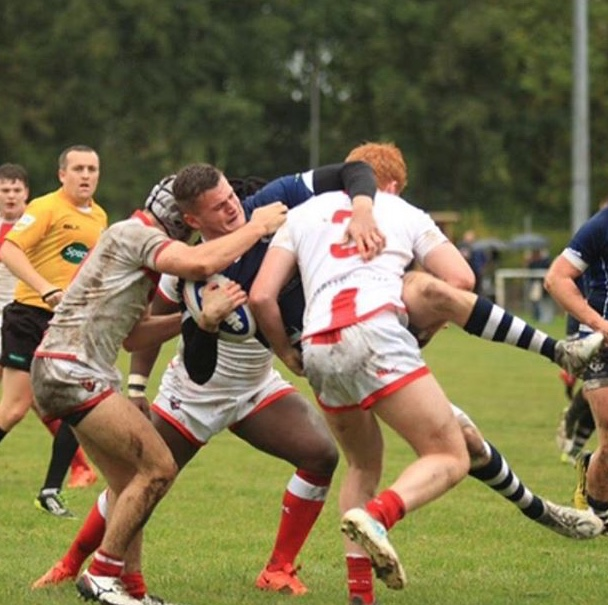 James Goulsbra-Miller making a tackle for England Amatuer RL