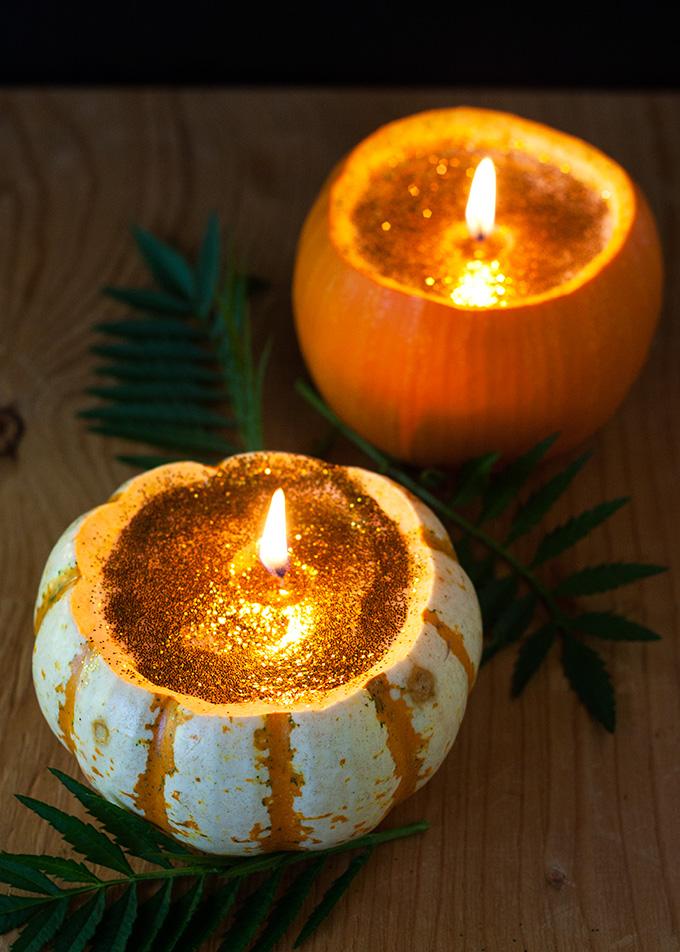 Glitter Pumpkin Candles