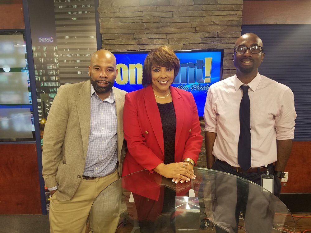 Cynthia in the Wach Studio with guests.jpg