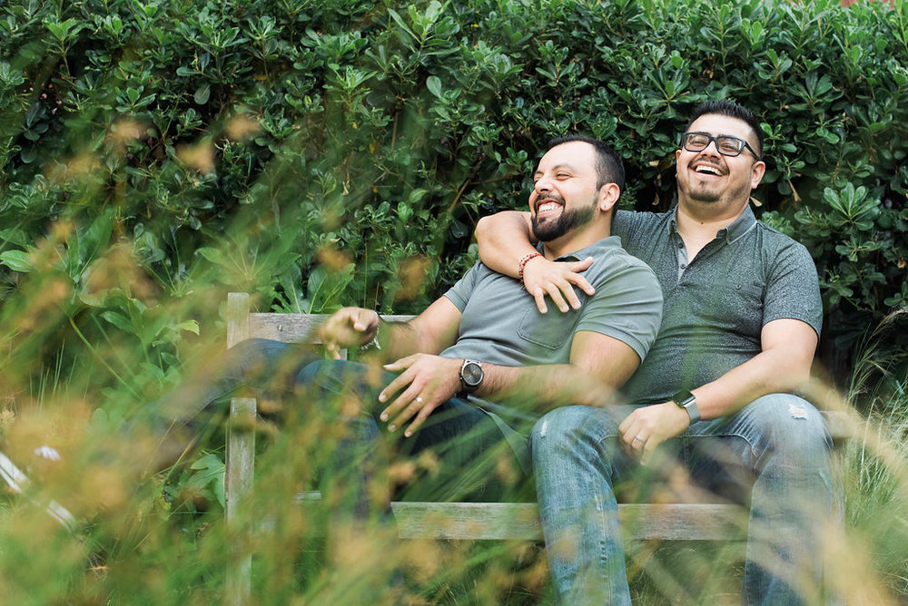 """Jesus & Jorge - Ages: Jesus - 30, Jorge - 39Granted asylum in 2016Jesus and Jorge fled Mexico after facing discrimination, bullying and rejection for being gay. Jesus fled when he was 15 years old and Jorge fled when he was 18. The couple met at SF Gay Pride 2012 and married in 2016. Oasis legal staff member Maria Elena supported them from day one, thoroughly explaining the asylum process step by step. Since gaining asylum Jesus has gotten a better job and feels more free to be who he is, no longer hiding his sexual orientation. Jorge has a son born in the U.S. and now wakes up in the morning without fear of being caught in an ICE raid and separated from his son.""""I can be on the street and feel at ease and feel like no one is going to reject me or make fun of me.""""- Jesus"""