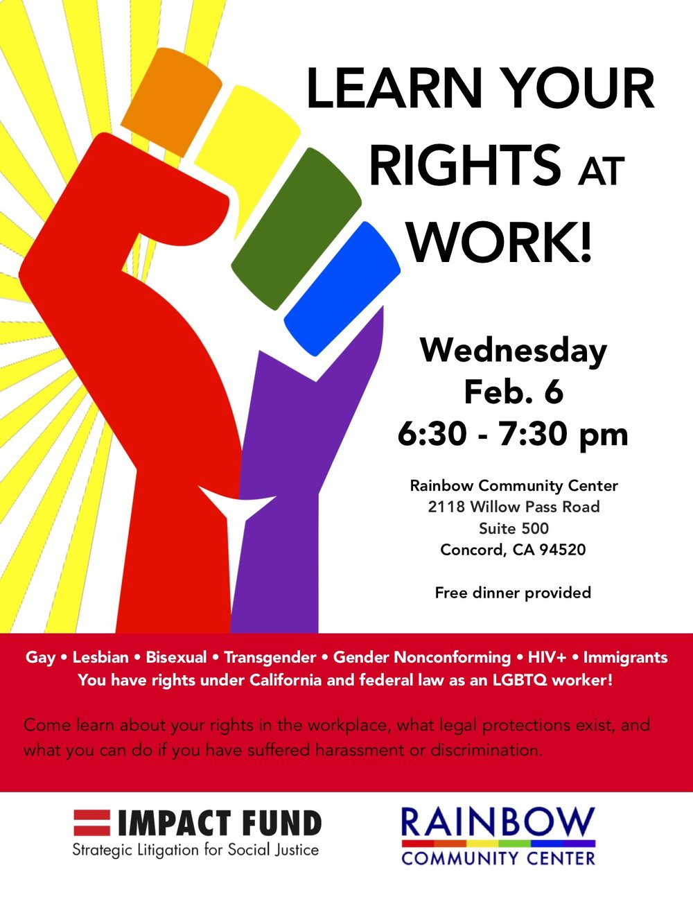 Know Your Rights Training - Oasis will be hosting a labor rights information workshop at the Rainbow Community Center in Concord on February 6. All Oasis clients are invited, but note that the workshop will be led in English only. Free dinner will be provided!