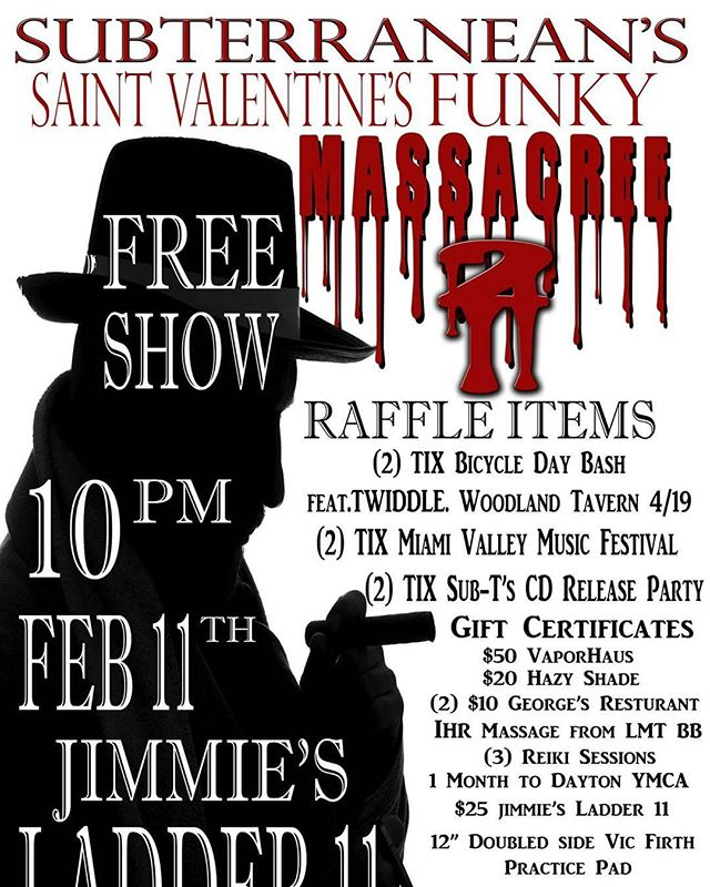 This Saturday is our fan appreciation night. Subterranean's Saint Valentine's Funky Massacree 2 will have Music, Food, Spirit, and Prizes. FREE SHOW!!!