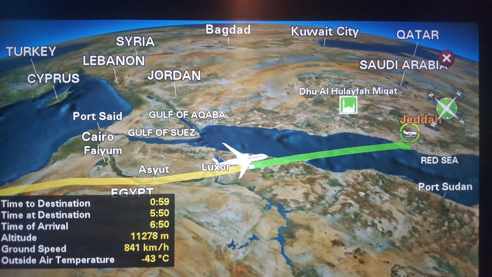 Flight map from Saudi Arabian Airlines