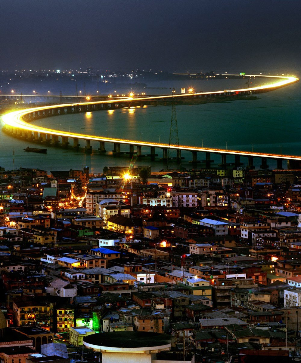 Nigeria's Third Mainland Bridge links Lagos Mainland and Lagos Island