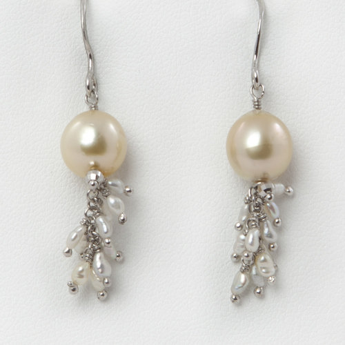 golden earrings pearls pearl cluster and tesla seed hued of gallery