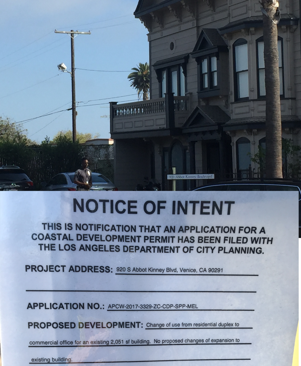 They illegally reside in residences - They're illegally residing at 920 S Abbot Kinney. The building is zoned for residential use not commercial office use. In order to stay there the landlord is asking the Coastal Commission to change the use of the property from residential to commercial.