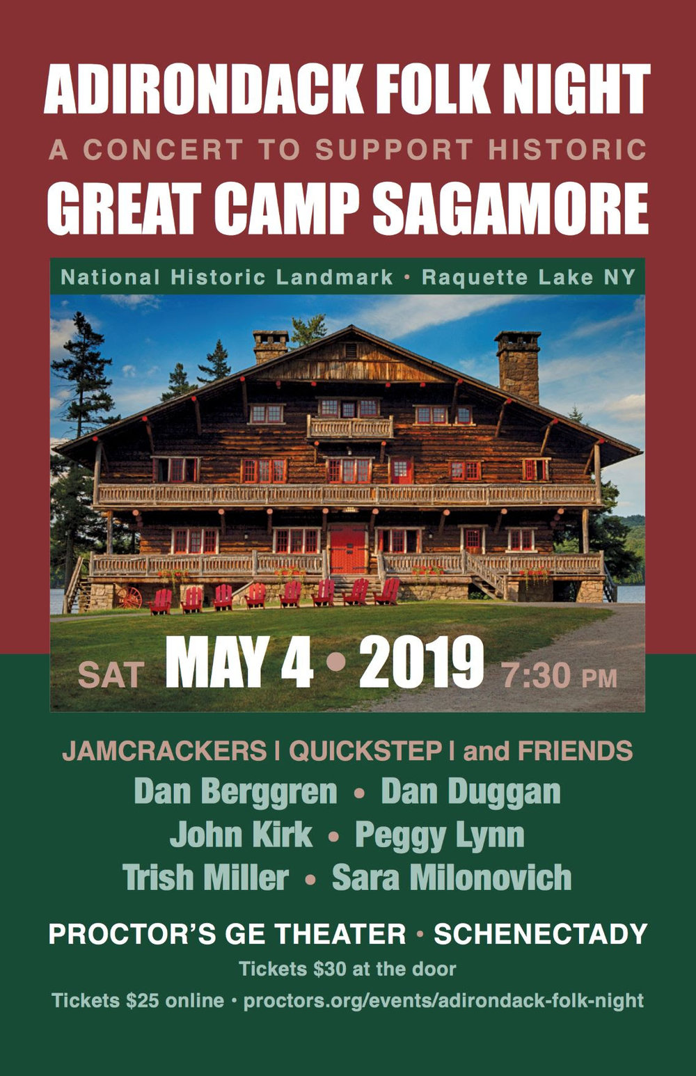 Some of the most accomplished traditional musicians of the Adirondack region celebrate over 40 years of music at Sagamore; all concert proceeds will help ensure the future of Adirondack folk music at Sagamore, with special emphasis on its youth and children's music programming.  We will be joined by other regional museums, art galleries and non-profits, join us for an evening of Adirondack music, history and nature!   Doors will open at 6pm and audience members are invited and encouraged to meet the musicians and visit with representatives of other attractions.
