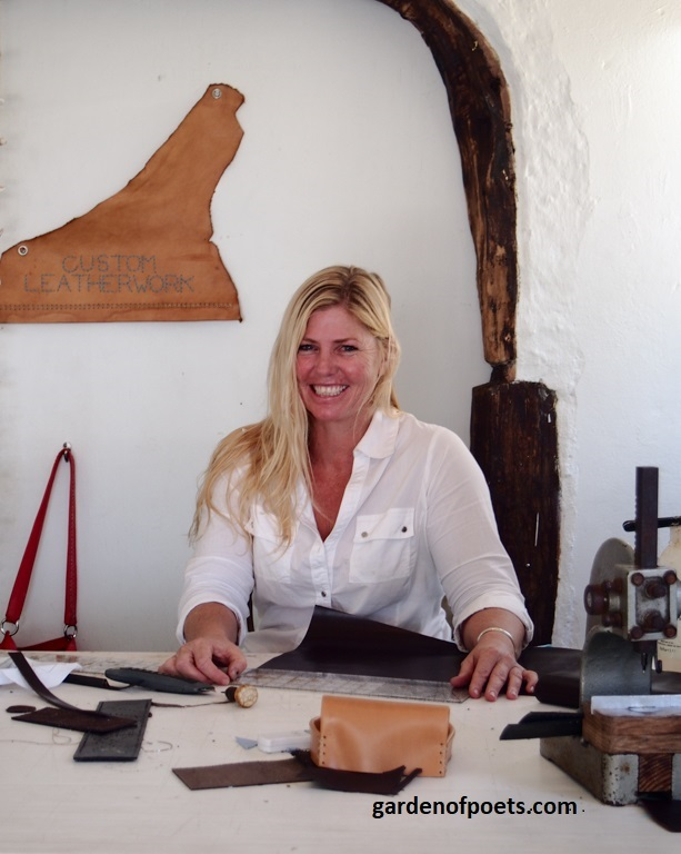 Annalea Mills in her leatherwork studio in English Harbour, Antigua. Photograph by Jennifer Ritchie.