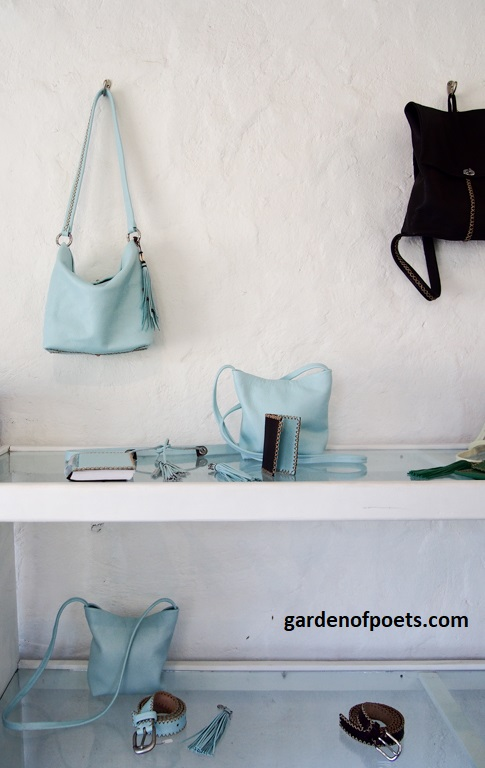 The handmade leather designs of Annalea Mills in her studio shop, English Harbour, Antigua. Photo by Jennifer Ritchie.