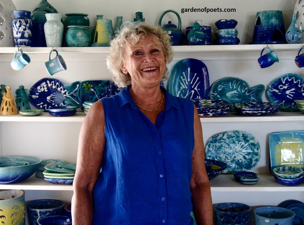 Sarah Fuller of  Sarah Fuller Pottery , Antigua, inside her studio in Dutchman's Bay. Photo by Jennifer Ritchie