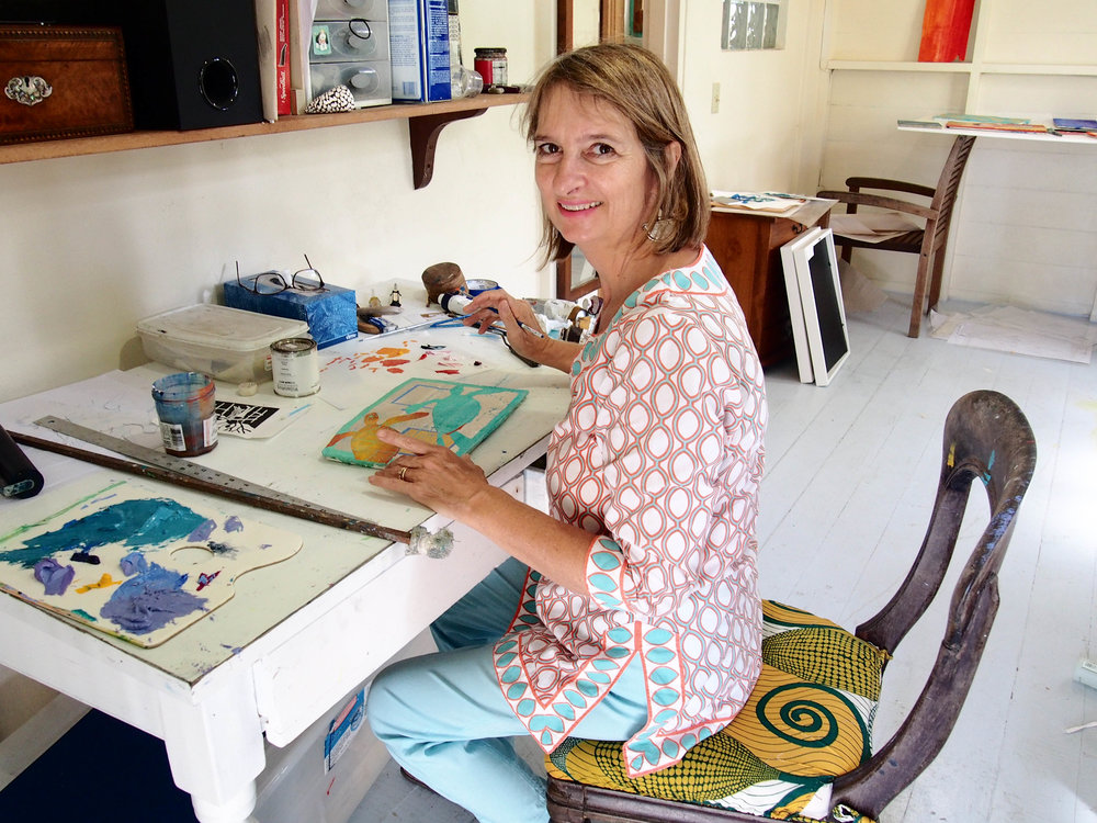 Artist and sculptor  Sallie Harker  in her Fig Tree Studio Art Gallery, Antigua. Photo by Jennie Ritchie.