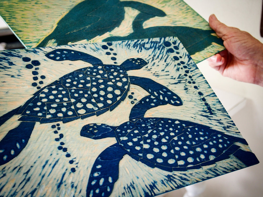 Woodcut printmaking by Sallie Harker. Photo by Jennie Ritchie