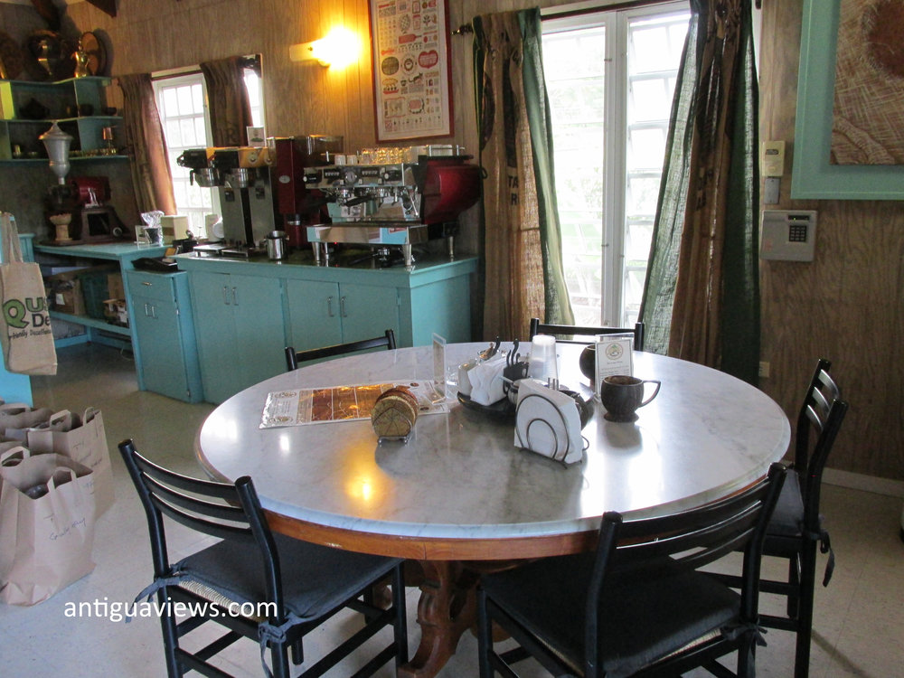 Time to enjoy a cup of the fresh roast at the Carib Bean coffee company in Antigua. Photo by Jennie Ritchie.
