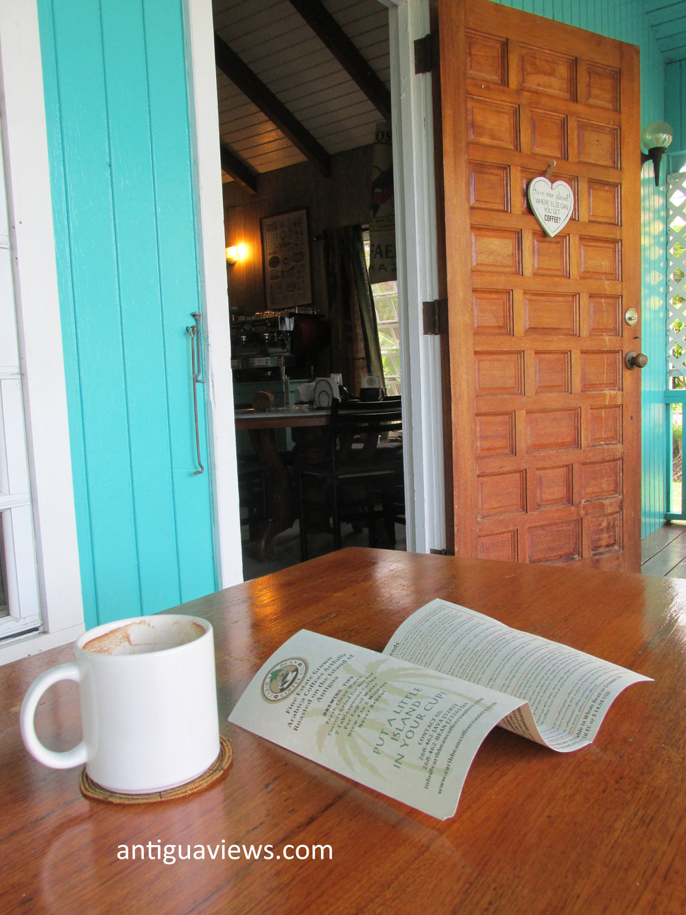 Enjoying a 'Hurricane Brew' at the Carib Bean coffee company in Antigua. Photo by Jennie Ritchie.