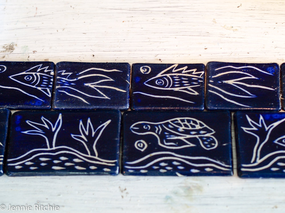 Tiles handmade by Nancy Nicholson. Photo by Jennie Ritchie