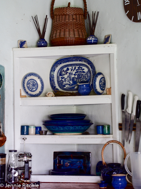 Handmade unique ceramics in Nancy Nicholson's Caribbean home. Photo by Jennie Ritchie.