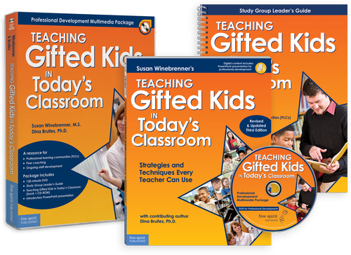 Schools will get the benefit of in-person author workshops for a fraction of the cost with this comprehensive professional development resource. Teachers will be introduced to proven, practical classroom strategies for meeting the needs of gifted learners, whether they work in a mixed-abilities classroom, cluster classroom, gifted-education classroom, resource room, or another setting.  The package includes:  • DVD (100+ minutes) featuring top-selling authors Susan Winebrenner and Dina Brulles along with actual classroom teaching sessions that illustrate key strategies from the book  • A copy of the book   Teaching Gifted Kids in Today's Classroom    • Online digital content containing all of the customizable reproducible forms from the book along with an introductory PowerPoint presentation   • Study Group Leader's Guide  that directs users through the book and the video as they use these in study groups or other forms of staff development  In addition to discussion and modeling of pivotal teaching strategies, the resource covers 21st century learning, assessment, technology, RTI, and schoolwide cluster grouping.