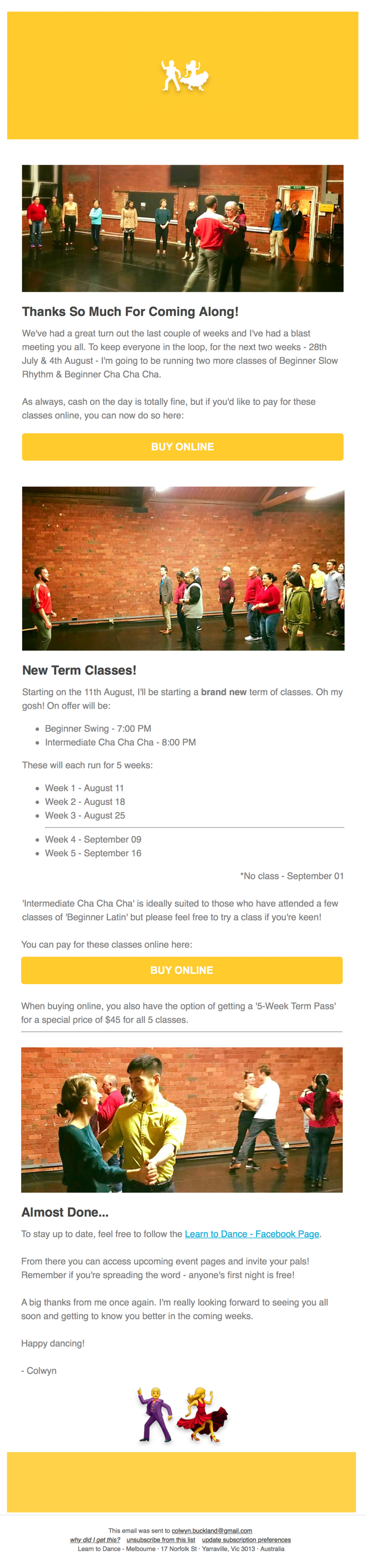 LEARN TO DANCE   EMAIL NEWSLETTER