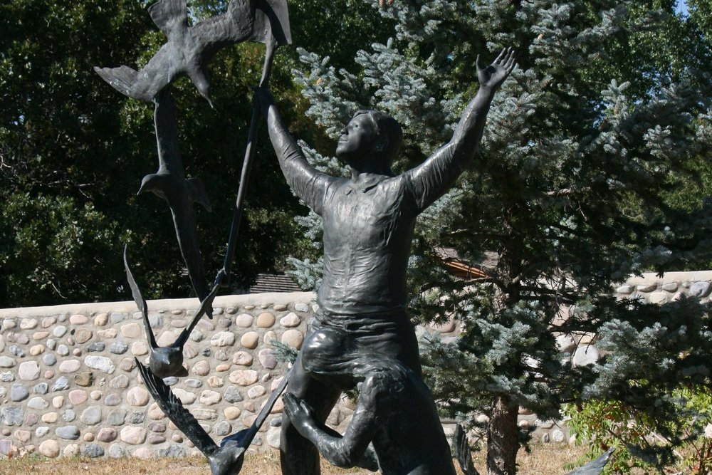Miracle of the Seagulls Monument - This work expresses the elation and gratitude of the Utah pioneers after flocks of seagulls saved their crops from ravenous crickets. It was sculpted by Jonathan Bronson, and donated by Kenneth O. Melby and Robert L. Rice.