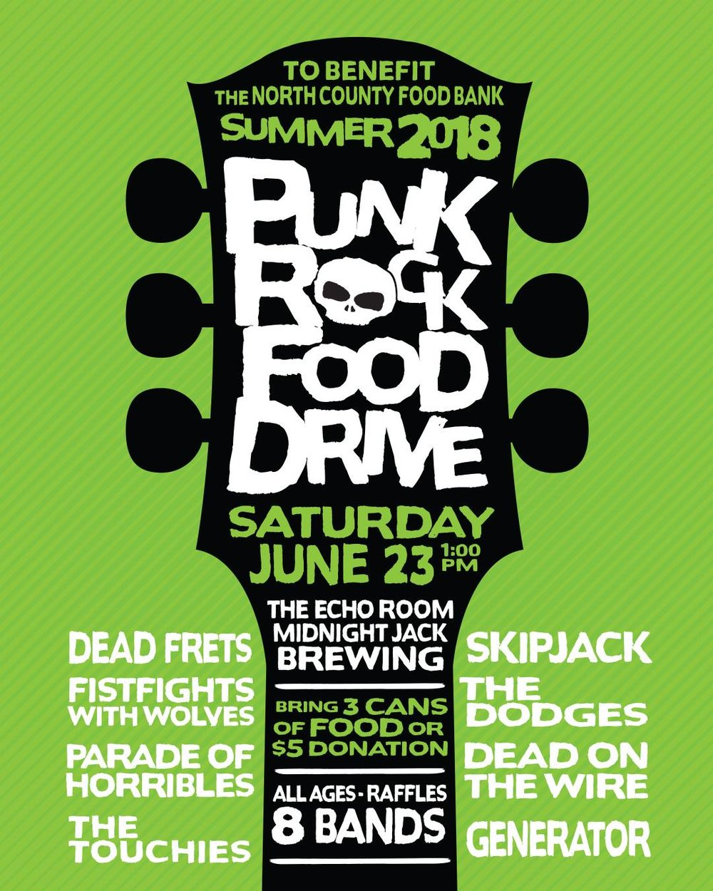The Summer 2018 Punk Rock Food Drive - DATE: 6/23/2018 VENUE: Midnight Jack Brewing Co. Oceanside, CARESULTS:2,086 pounds of food$4,488.00.24,178 meals.LINEUP:Dead FretsFistfights With WolvesParade of HorriblesThe TouchiesSKIPJACKThe DodgesDead on the WireGeneratorALL PHOTOS BY JOEL GELIN