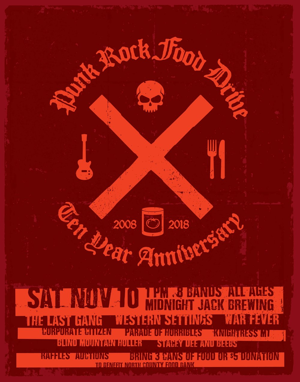 The 10th Annual Thanksgiving Punk Rock Food Drive - DATE: 11/10/2018VENUE: Midnight Jack Brewing Co. Oceanside, CARESULTS:1,763 pounds of food$4,753.00.24,234 meals.LINEUP:The Last GangWestern SettingsWar FeverCorporate CitizenParade of HorriblesKnightressM1Blind Mountain HollerStacey Dee & BeebsALL PHOTOS BY JOEL GELIN