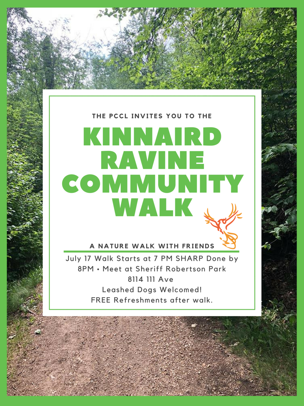 Join us for a walk through the gorgeous Kinnaird Ravine. Bring your family, friends and your   four legged   best   friend   for a great time!     Check out our Facebook Event:  https://www.facebook.com/events/380154539174216/