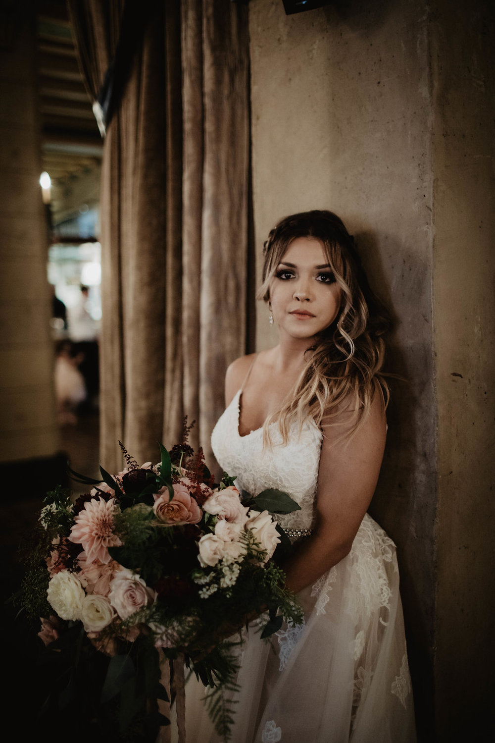 Gorgeous, Moody and Romantic Blush and Burgundy Bridal Bouquet for Adrianne, and Joels Hollywood Wedding. Los Angeles California - Royal Bee Florals and Events - Photography by Matt and Jess