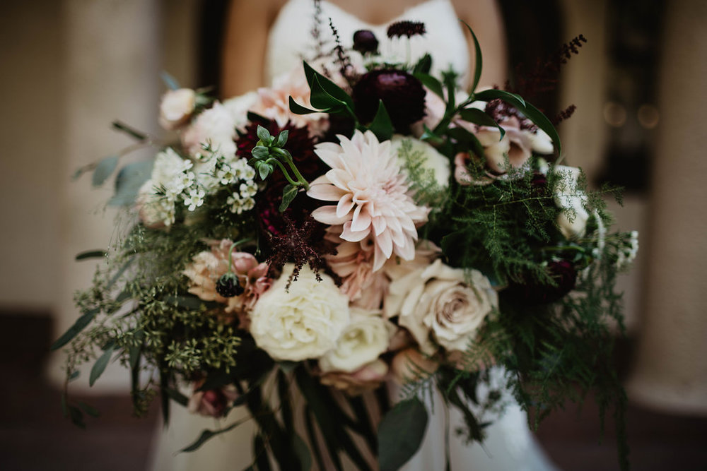 Burgundy and Blush Romantic Bridal Bouquet  - Wattles Mansion, Hollywood - Royal Bee Florals and Events