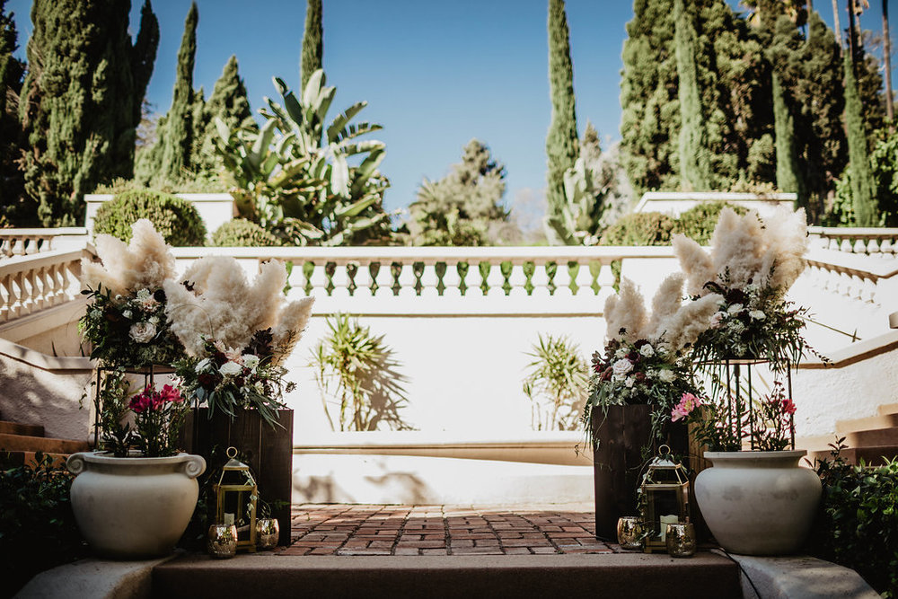 Burgundy and Blush Romantic, Boho, Pampas Grass and Dahlia Altar Arrangement- Wattles Mansion, Hollywood, CA - Royal Bee Florals and Events