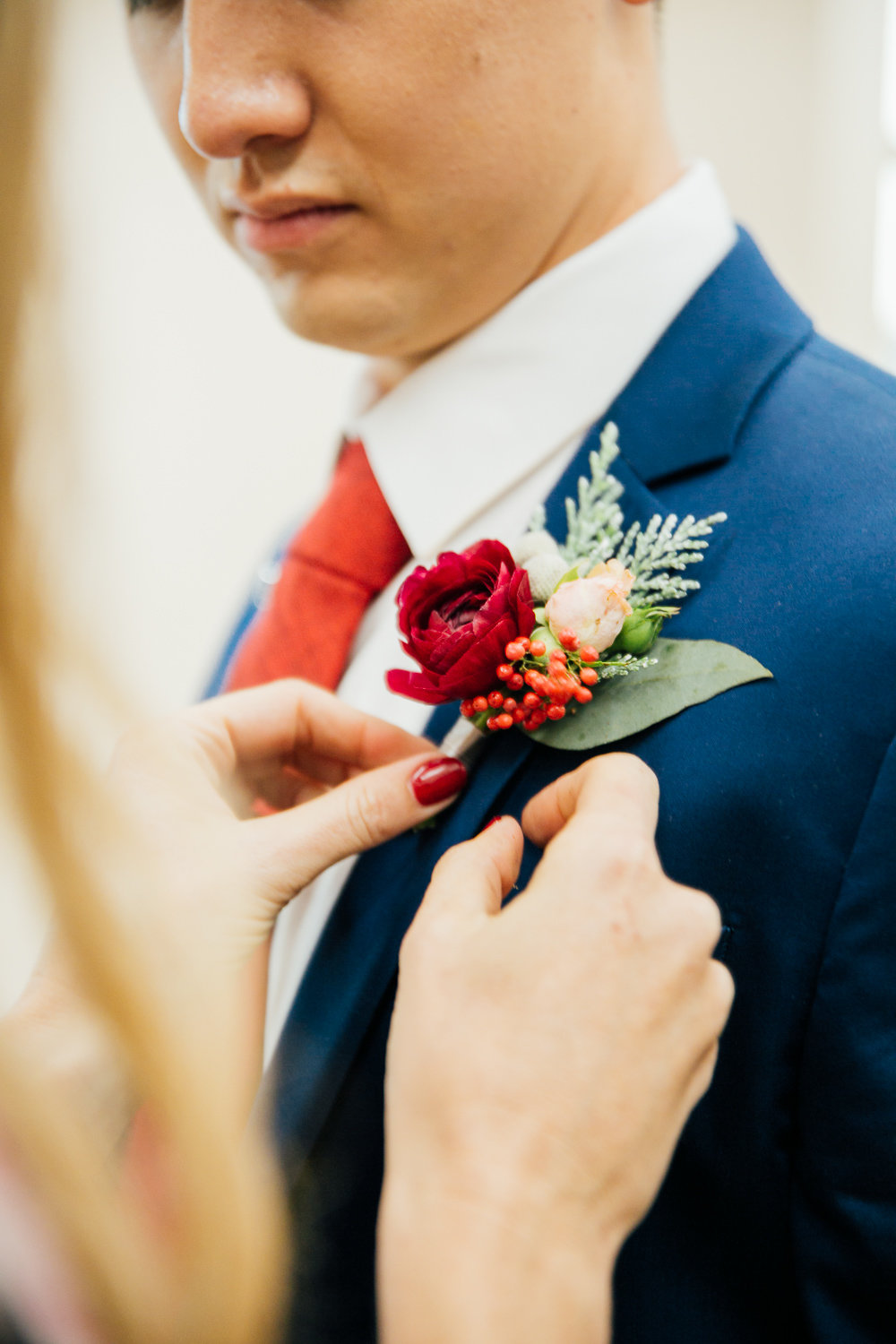 Christmas boutonniere - Royal Bee Florals and Events