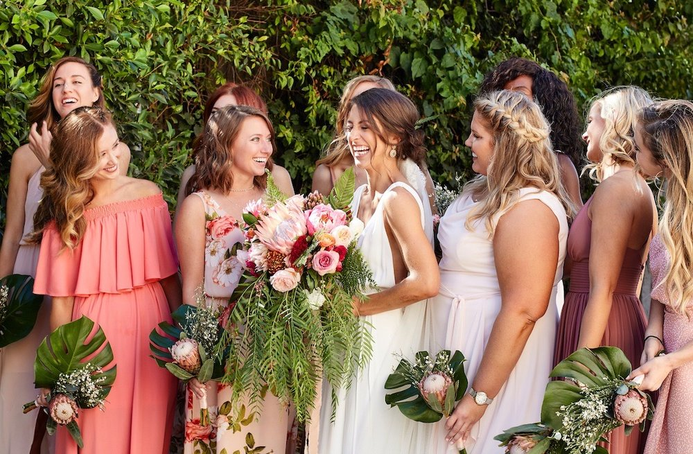 Bright and Vibrant Summer Protea Bridesmaid Bouquets - Royal Bee Florals and Events