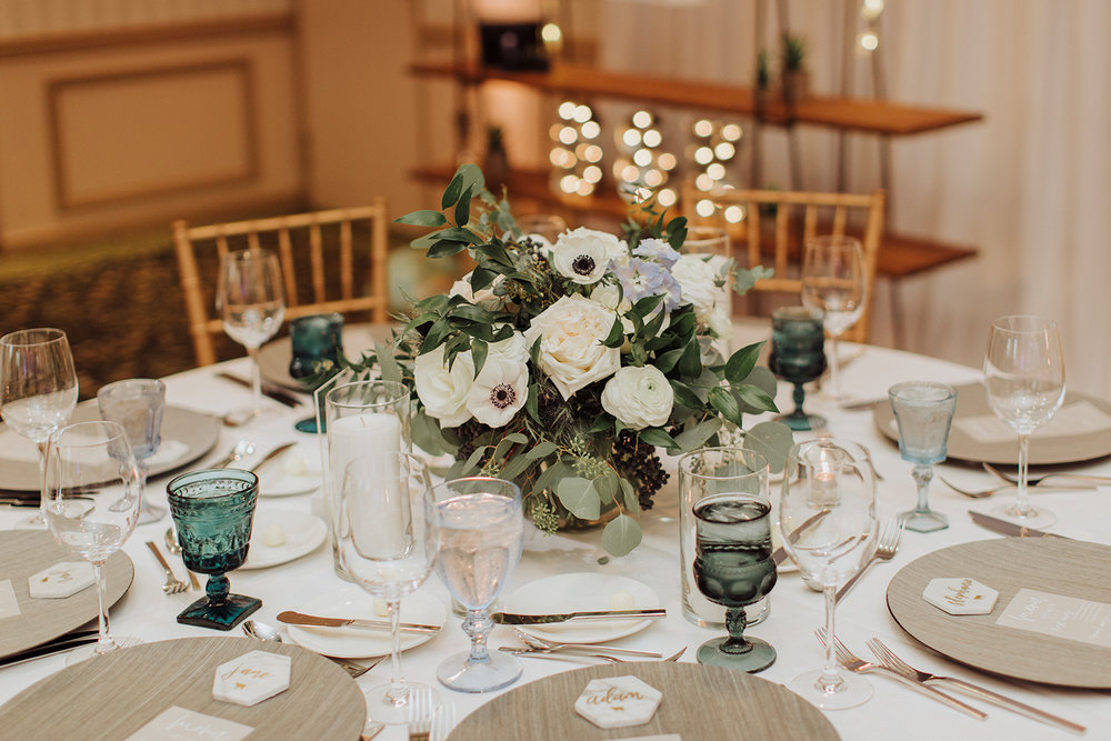 Blush, White and Blue, Coastal Wedding Centerpice - Royal Bee Florals and Events