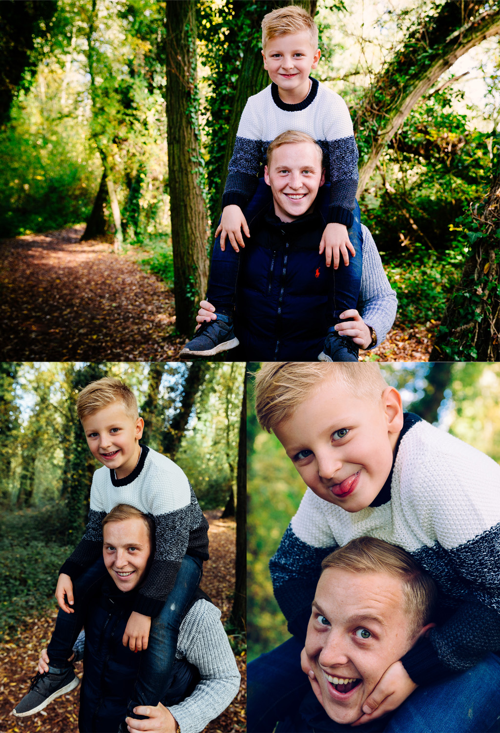 Father and son, Family Portraits, Cambridge, woods