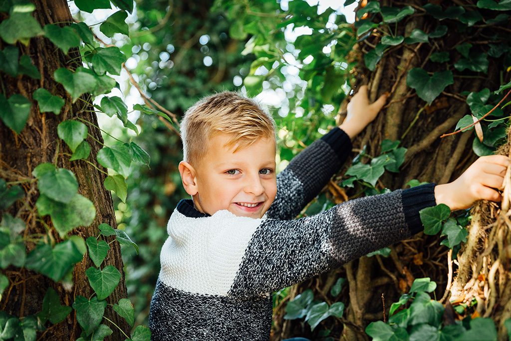 boy in woods