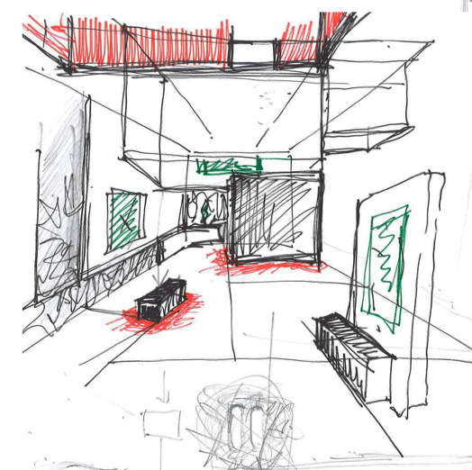 Concept - The contemporary collection will be translate into wite monolite volumes that surprise people by they different heights and connections with the peripheric black wall that contains the other generation of artists - First the logo of Belfius is playing the art piece* being in the entrance deconstructed on different glasses in front of a ligting white wall- Than you enter under a red big box suspended above your head -like it will fall on you. Then through the white monoliths you discover beautiful art pieces- another point of view in each corner of the space. When you go further you enjoy a dynamic video created by Dirty Monitor especially for this occasion and the mirror boxes reflected the movie on the floor. At the end you are still surprised by other spaces like the black room.For this project; i collaborate with Etienne van den Berg ICEBERG architecture studio, Action + Service and PRG