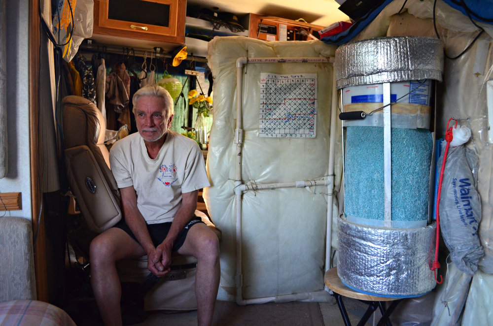 Gary Brown doesn't trust the intentions of any group seeking to purchase Slab City from the state of California. Brown has been living at the Slabs for more than 4 years and makes his home in a 38 foot motorcoach. (Imperial Valley Press/Antoine Abou-Diwan)