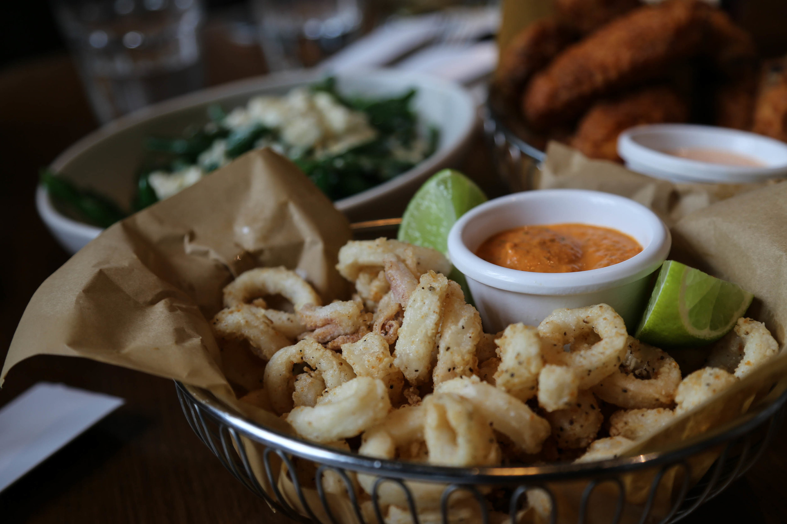 Salt & pepper calamari, lemon, romesco